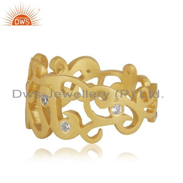 Suppliers 18K Yellow Gold Plated Sterling Silver Cubic Zirconia Designer Band Ring
