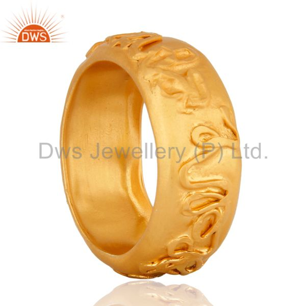 Suppliers 18K Yellow Gold Plated Sterling Silver Plain Engagement Ring Size 7