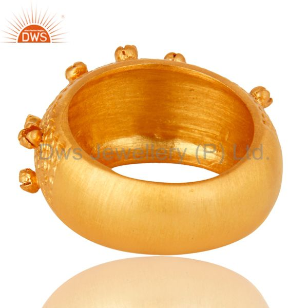 Suppliers 18K Yellow Gold Plated Sterling Silver Textured Design Dome Ring Jewelry