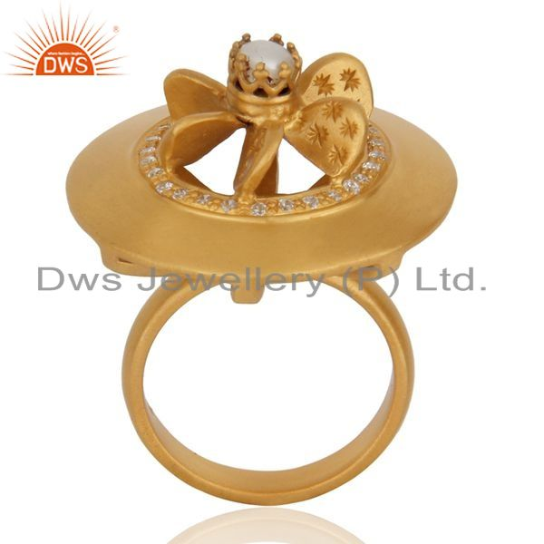 Suppliers 18K Gold Plated High Polished 925 Sterling Silver Fan Design Pearl Cocktail Ring