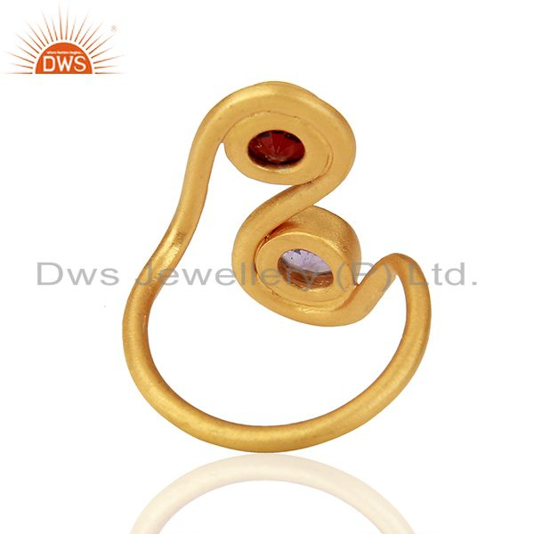 Suppliers Amethyst and Garnet Gemstone Gold Plated Silver Fashion Ring Jewelry