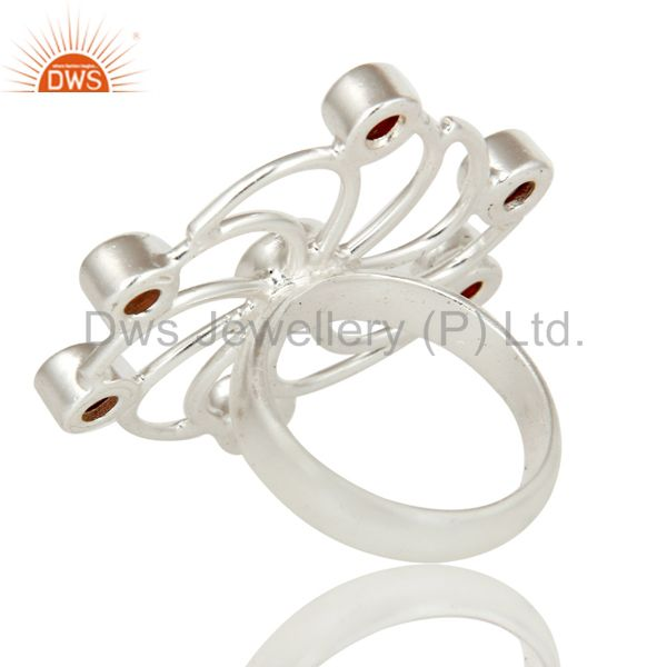 Suppliers Solidl 925 Sterling Silver Flower Design Garnet Gemstone Ring