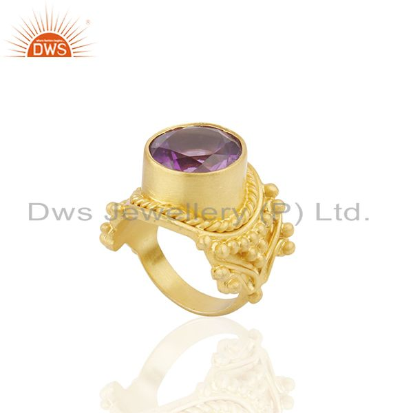 Suppliers 18K Yellow Gold Plated Sterling Silver Amethyst Gemstone Cocktail Ring