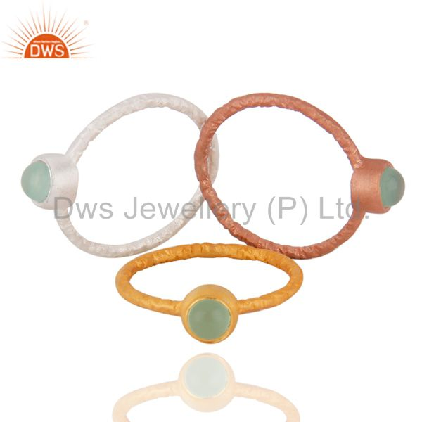 Suppliers 18K Gold Plated Sterling Silver Green Chalcedony Gemstone Stack Ring 3 Pcs Set