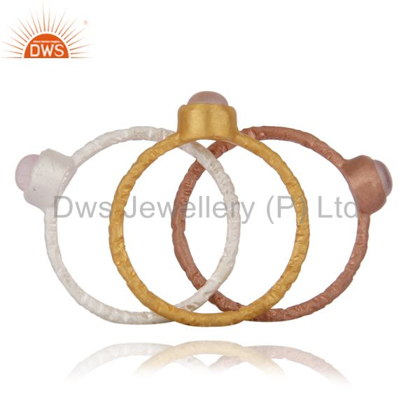 Top Quality 18K Gold Plated Sterling Silver Rose Quartz Gemstone Stack Ring 3 Pcs Set