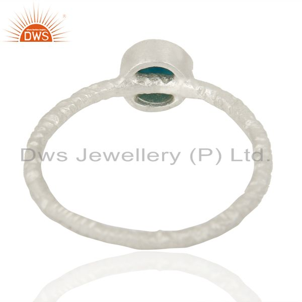 Suppliers Natural Turquoise Gemstone 925 Sterling Silver Stackable Ring Jewelry