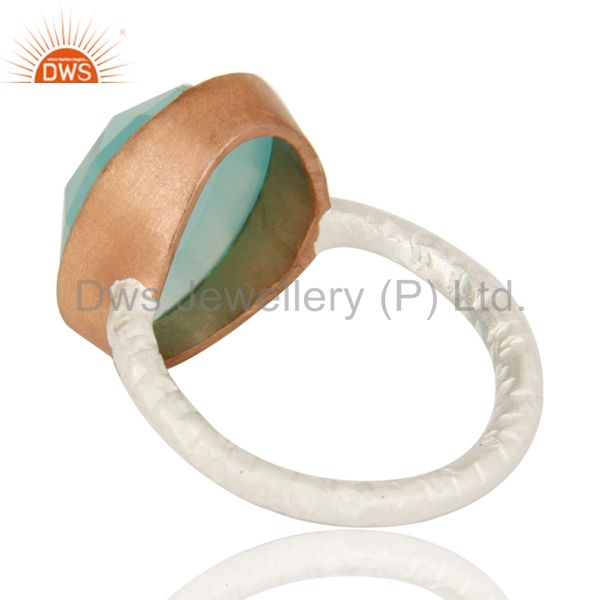 Suppliers Dyed Aqua Blue Chalcedony Gemstone Sterling Silver Ring With Rose Gold Plated