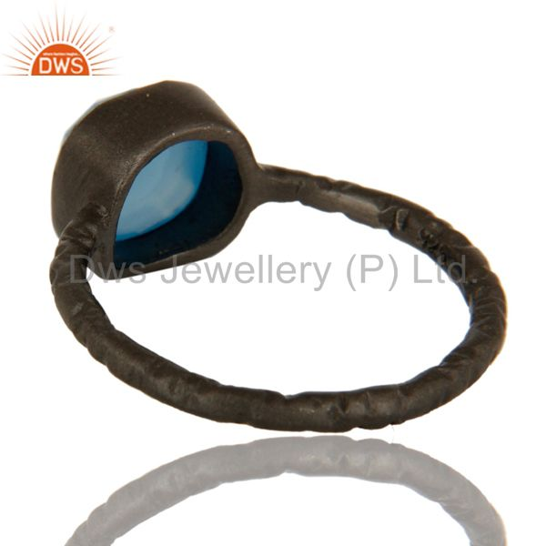 Suppliers Black Rhodium Plated Sterling Silver Aqua Blue Chalcedony Stacking Ring