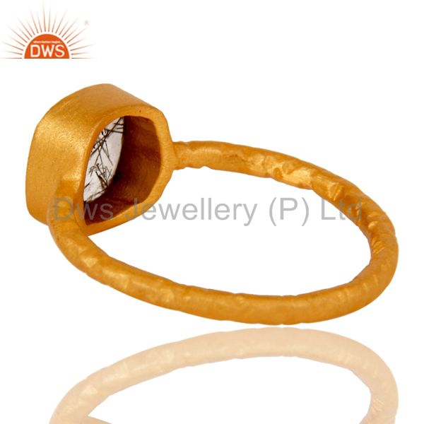 Suppliers 18K Yellow Gold Over Sterling Silver Black Rutile Stacking Ring
