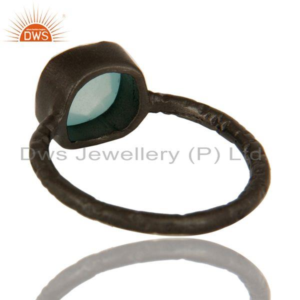 Suppliers Dyed Aqua Blue Chalcedony Gemstone Black Rhodium Plated Sterling Silver Ring