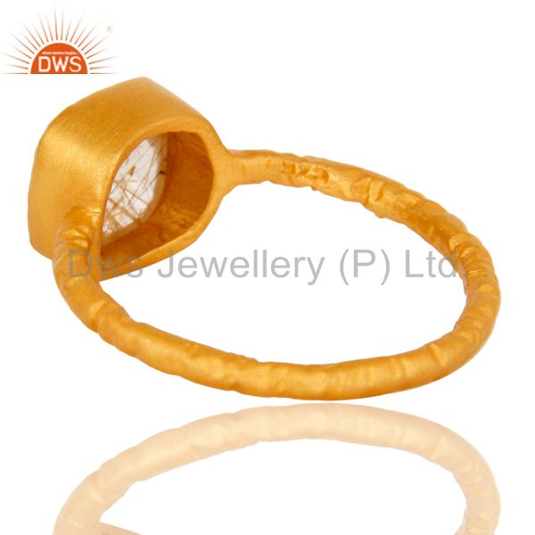Suppliers 18K Yellow Gold Plated Sterling Silver Rutilated Quartz Gemstone Stackable Ring