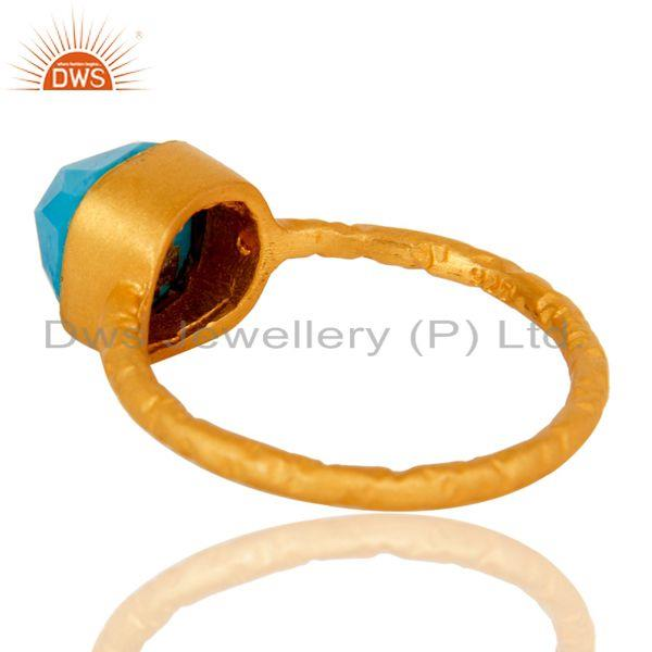 Suppliers 22K Yellow Gold Plated Sterling Silver Turquoise Gemstone Stackable Ring