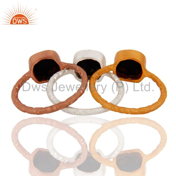 Suppliers 18K Gold Plated Sterling Silver Black Onyx Gemstone Stacking Ring 3 Pcs Set