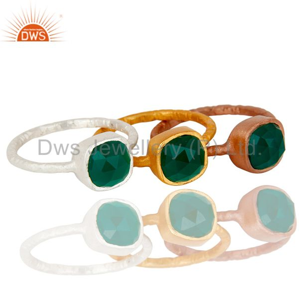 Suppliers Rose and Yellow Gold Plated Sterling Silver Green Onyx Hammered Stacking Ring