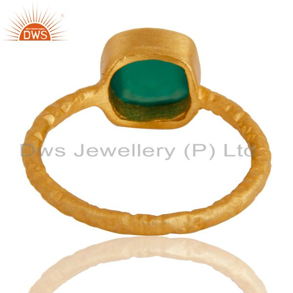 Suppliers 18K Yellow Gold plated Sterling Silver Green Onyx Hammered Stacking Ring