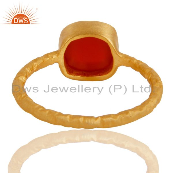Suppliers 18K Yellow Gold Plated Sterling Silver Handmade Natural Red Onyx Stackable Ring