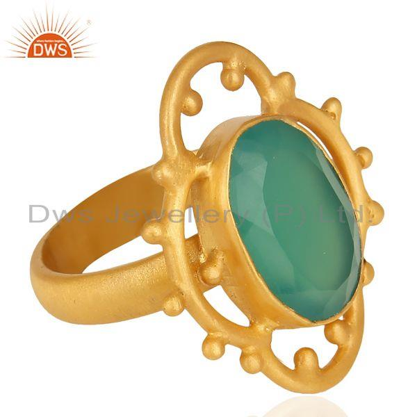 Suppliers Green Onyx Faceted Stone Filigreen Artisan 14 K Gold Plated Ring