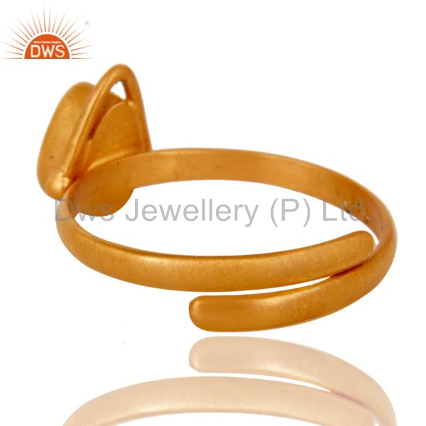 Suppliers Solid Sterling silver 18k Yellow Gold Overlay Pear Citrine Adjustable Ring