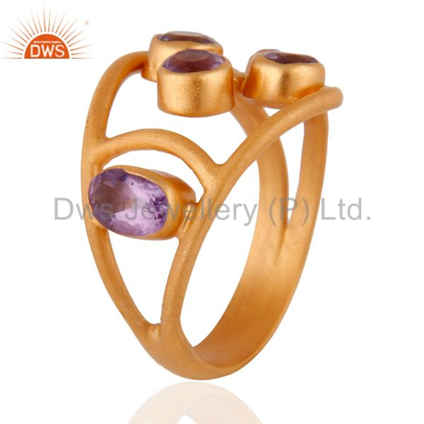 Suppliers 1.29cts. Amethyst Gemstone 14k Gold Plated 925 Sterling Silver Ring Jewelry