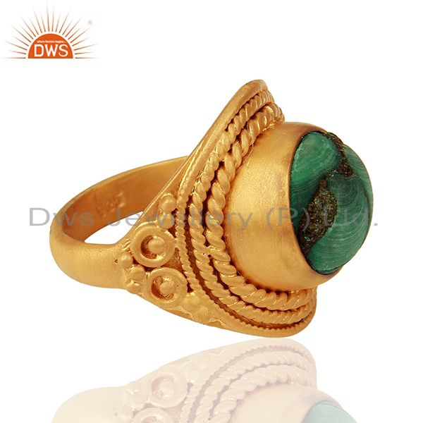 Suppliers Designer Gold Plated Silver Malachite Gemstone Rings Manufacturer
