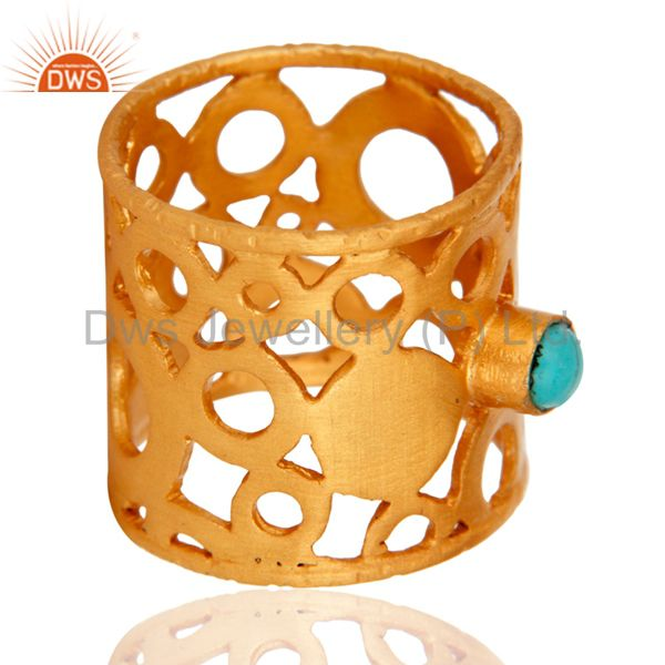 Suppliers 18k Yellow Gold On Brass Turquoise Gemstone Filigree Designer Fashion Band Ring