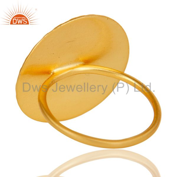 Suppliers Textured Flower Carving 18k Gold Plated Brass Cocktail Ring