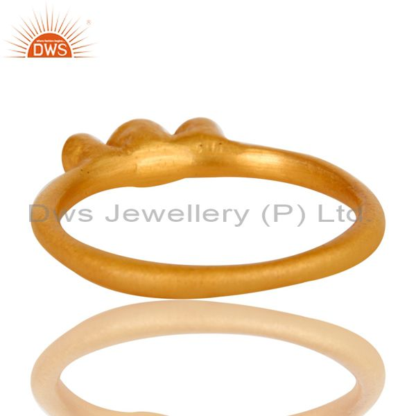 Suppliers 18K Yellow Gold Plated Brass Three Stone Cubic Zirconia Stacking Ring