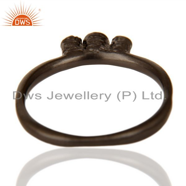 Suppliers Stackable Black Rhodium Plated CZ studded Trendy Sleek 92.5 Sterling Silver Ring