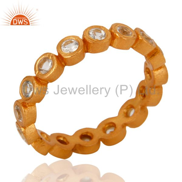 Designers 18k Yellow Gold-Plated Sterling Silver White Topaz Stackable Eternity Ring