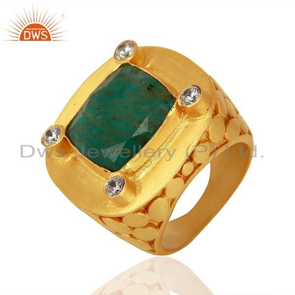 Suppliers CZ Amazonite Gemstone Gold Plated Stud Ring Jewelry Supplier