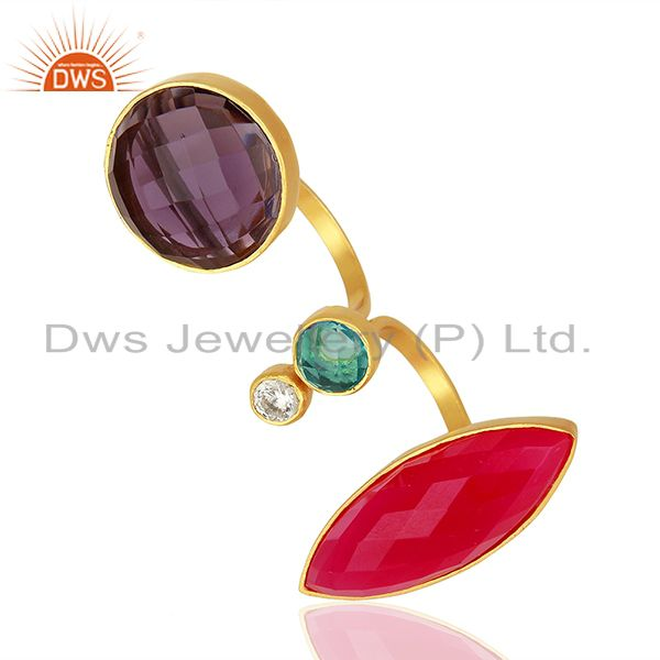 Suppliers Hydro Gemstone Gold Plated Brass Fashion Ring Jewelry Supplier