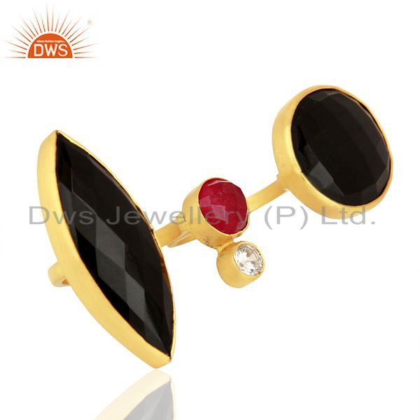 Suppliers 24K Yellow Gold Plated Brass Red Aventurine And Black Onyx Two Finger Ring