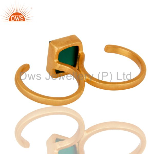 Suppliers 18K Yellow Gold Plated Brass Green Onyx Double Finger Open Ring