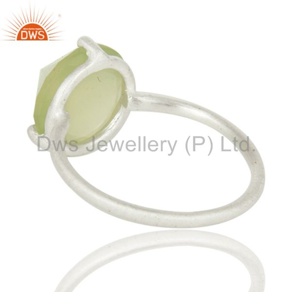 Suppliers Prong Set Green Chalcedony Gemstone Sterling SIlver Stackable Ring