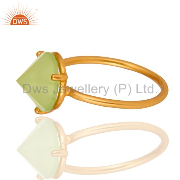 Suppliers 14K Gold Plated 925 Sterling Silver Pointed Design Chalcedony Ring Jewelry