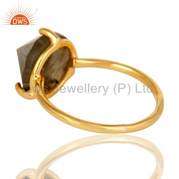 Suppliers 22K Yellow Gold Plated Sterling Silver Labradorite Gemstone Stackable Ring