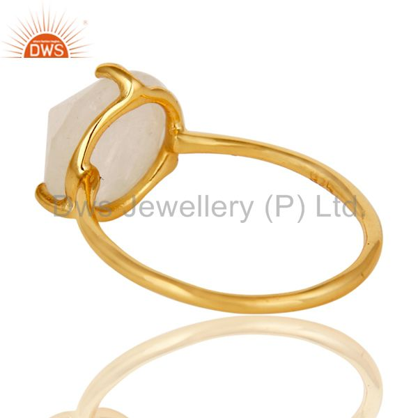 Suppliers 22K Yellow Gold Plated Sterling Silver Rainbow Moonstone Stackable Ring