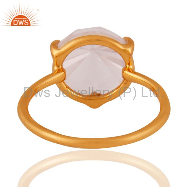 Suppliers 24k Yellow Gold Plated 925 Sterling SIlver Natural Rose Quartz Gemstone RIng