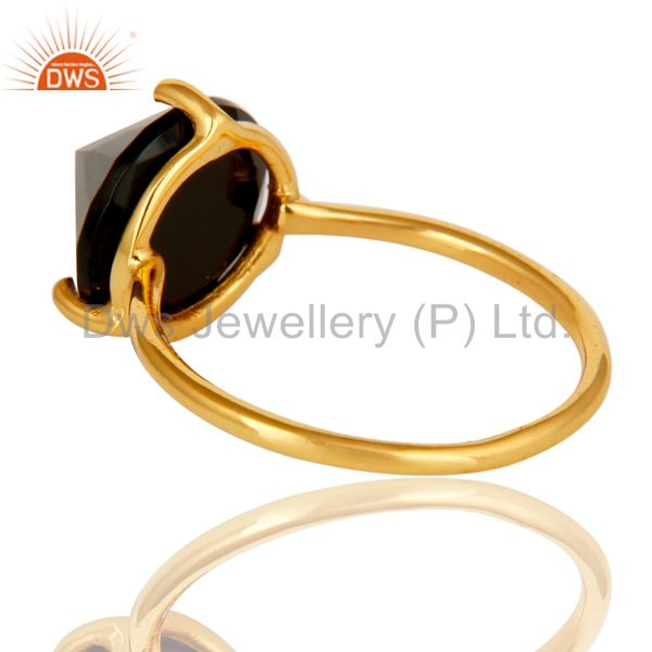 Suppliers Natural Semi Precious Stone Black Onyx 925 Sterling Silver 18k Gold Plated Ring