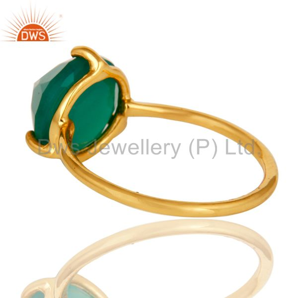 Suppliers 22K Yellow Gold Plated Sterling Silver Prong Set Green Onyx Stackable Ring