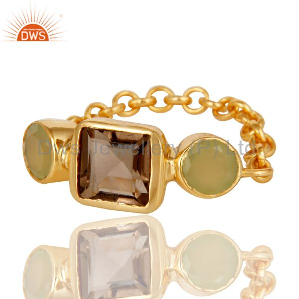 Suppliers Designer 22K Gold Plated Sterling Silver Chain Link Ring With Smoky Quartz