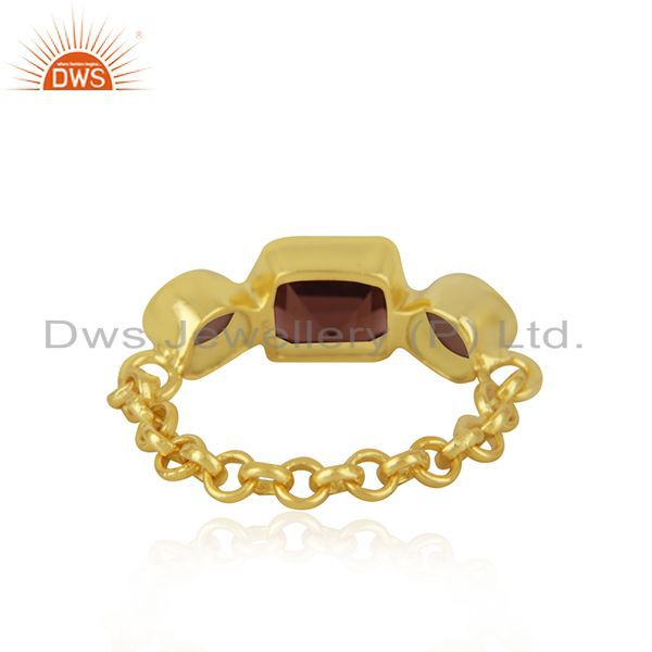 Suppliers Smoky Quatrz & Garnet Gemstone Ring With Gold Plated Sterling Silver Chain