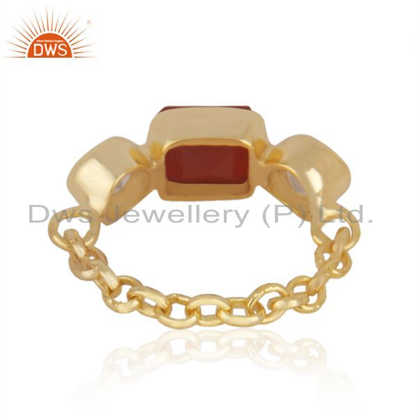 Suppliers 22k Gold-Plated Sterling Silver Carnelian & Chalcedony Gemstone Chain Ring