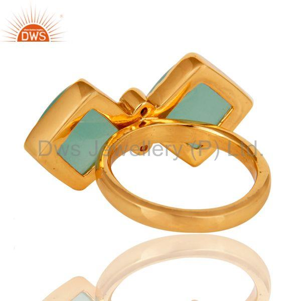 Designers Glass Aqua and Zircon 18K Gold Plated Fashion Ring