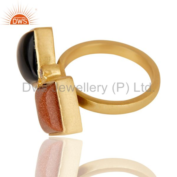 Suppliers 14K Yellow Gold Plated Black Onyx Sun Stone & White Zircon Statement Brass Ring