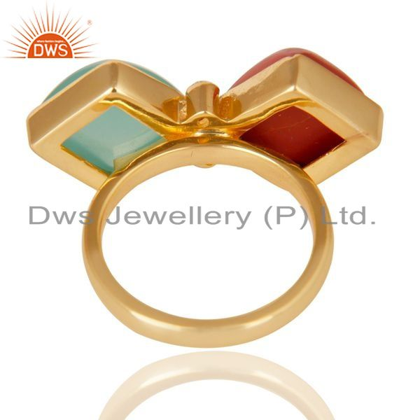 Suppliers Red Coral, Aqua & White Zirconia Ring Made In 14K Gold Plated 925 Silver
