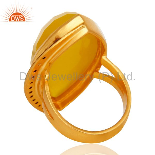 Suppliers 18K Yellow Gold Plated Brass Yellow Moonstone Fashion Statement Ring With CZ
