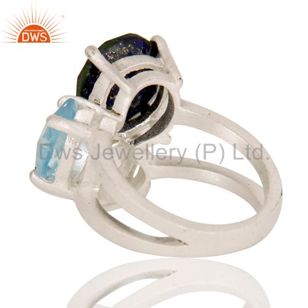 Designers Blue Topaz, Crystal Quartz And Lapis Lazuli Cluster Ring Made In Sterling Silver