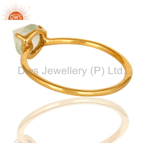 Suppliers 14K Yellow Gold Plated Sterling Silver Green Chalcedony Prong Set Stacking Ring