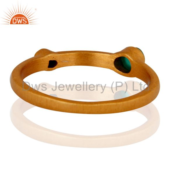 Suppliers 18K Gold Plated Sterling Silver Green Onyx And Lapis Lazuli Gemstone Ring